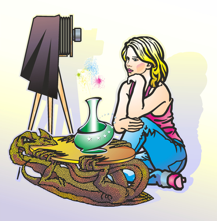 Woman in trousers sits at a table in the form of a dragon next to a camera.
