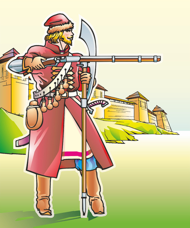 Male warrior Sagittarius with a saber and a saber at the walls of the fortress