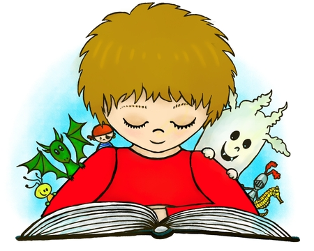 atc: An illustration of a little boy reading the fatasy book about dragons, knights, pirates ATC.