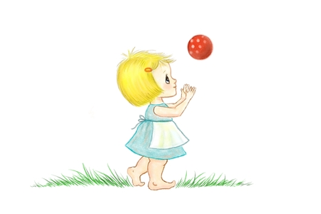 red ball: Illustration of a little girl playing wih a red ball