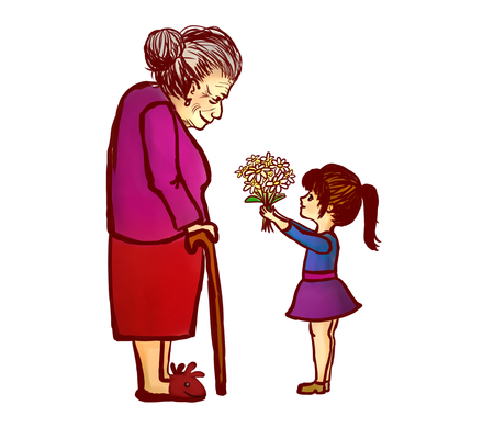 Granddoughter giving flowers to grandmother