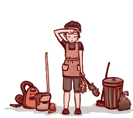 Señora de la limpieza de la mujer