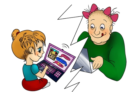 Girl chatting with virtual friend on laptop, internet concept danger