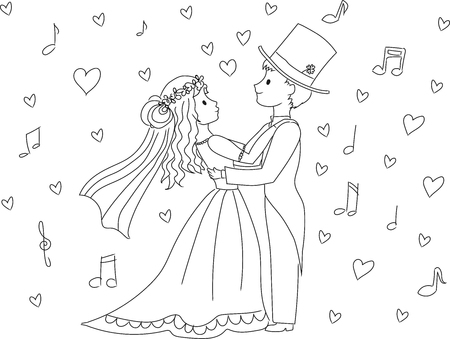 hapiness: Dancing wedding couple Illustration