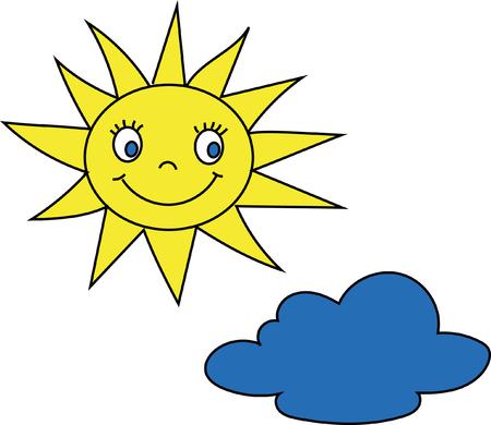 cartoon cloud: Smiling sun face cartoon cloud.