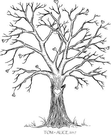 Hochzeit Baum Vorlage Standard-Bild - 77563384