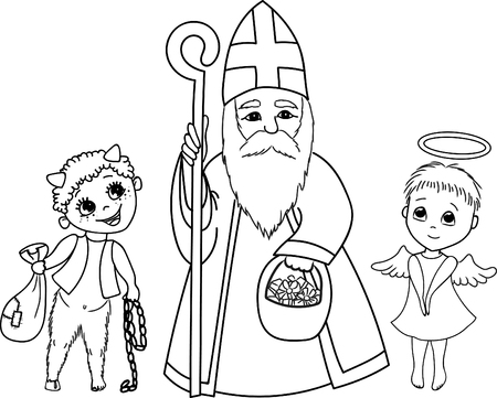 Saint Nicholas, devil and angel. Cute coloring page. Illustration