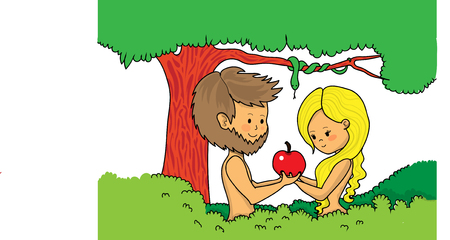 Adam and Eve cartoon Illustration
