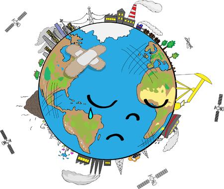 Sad Planet Earth cartoon