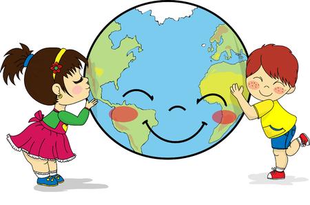 Kinder, die glückliche und lächelnde Planet Erde küssen und umarmen