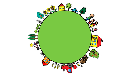 Planet with village countryside, farm, trees, animals, people Illustration