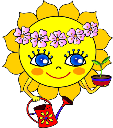 do it: Spring summer sun cartoon illustration growing and watering