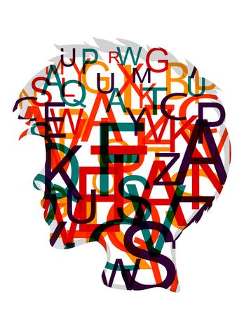 Menselijk hoofd vol gekleurde letters