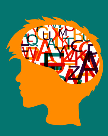 Head silhouette man with brain full of letters