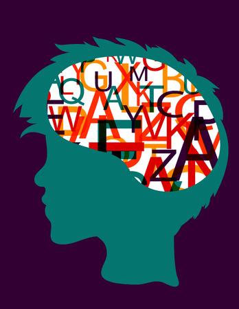 Head silhouette with letters in brain Vettoriali