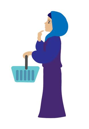 Muslim woman in shop choosing