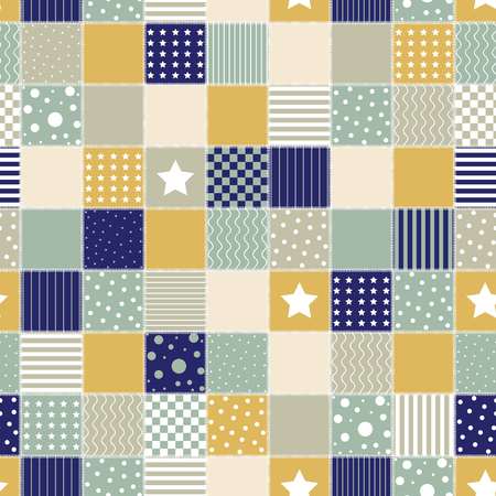 Patchwork geometric retro pattern with star, square, cell, circle, wavy and line. Vintage illustration.