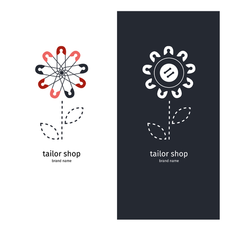 Logo for the tailor shop, logotype of the pins, sign for atelier.