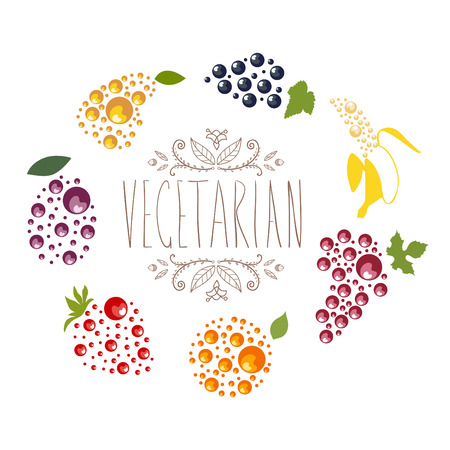 Vegetarian logo with grape, banana, orange, currant, strawberry, plum and pear with green leaves. Vector plant logotype, fruit icon. Ilustracja