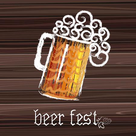 Beer fest banner. Poster with mug of beer, and dark wood on background illustration.