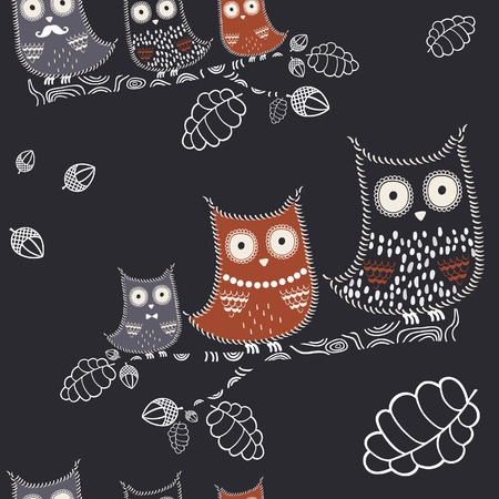 Vector owl with oak branch, acorns and leaves. Forest background, birds texture, vector design.