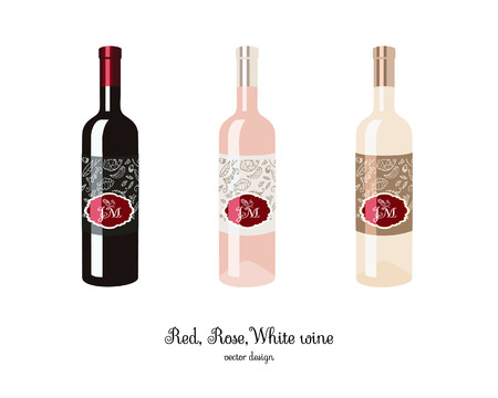 Red, rose and white wine, sparkling wine, champagne bottle, celebratory drink illsutration.