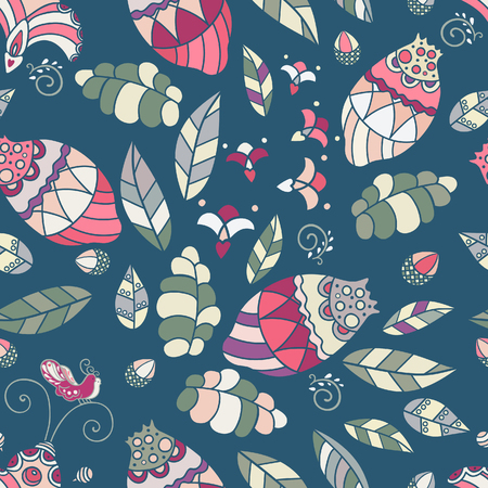 Abstract floral seamless pattern, vintage vector background with bird, flower and leaf.