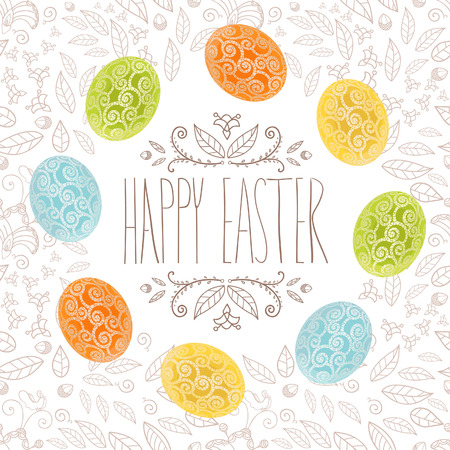 Easter holiday card with eggs and floral pattern, banner design with ornament color eggs. Easter invitation, vector design.