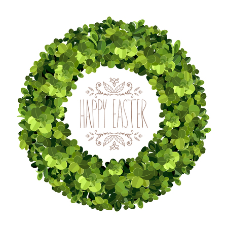 Boxwood wreath. Happy Easter card. Boxwood topiary, garden plant, vector background. English boxwood.