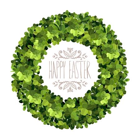 Boxwood wreath. Happy Easter card. Boxwood topiary, garden plant, vector background. English boxwood.