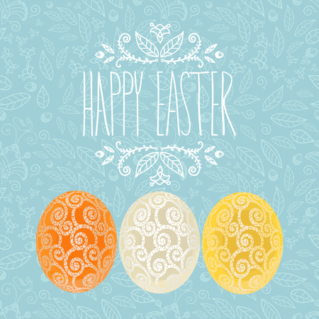 Easter holiday card with three eggs and floral pattern, banner design with ornament color eggs. Easter invitation, vector design.