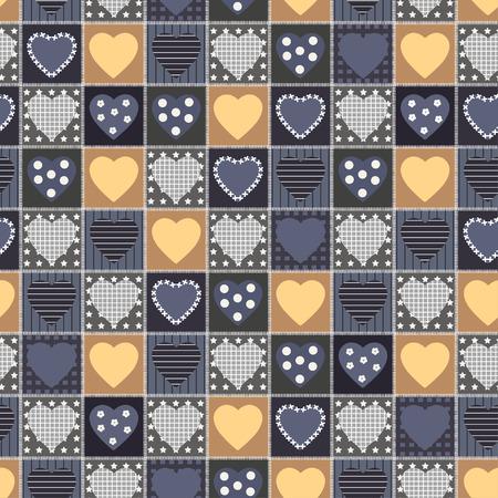 Geometric patchwork background with heart, star, dot, vector illustration, seamless pattern, retro style Ilustracja