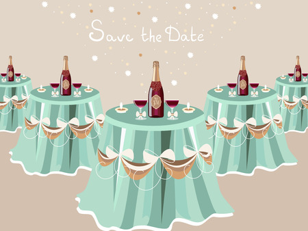 Wedding invitation, table with champagne, restaurant hall, celebrate card, vector design. Party Vector illustration.