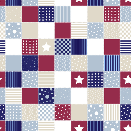 Geometric patchwork background with colored star, american flag background, circle and line, vector illustration, decorative textures, seamless pattern, retro style. Ilustracja