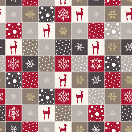Christmas background with red reindeer, snow and snowflakes, Christmas textures, New Year card with Christmas reindeer, vector design.