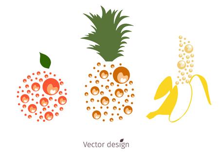 Fruit logo, orange pomelo, juicy pineapple with green leaves ripe banana, vector design. Ilustracja