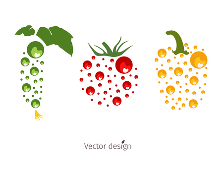 Vegetable logo, cucumber, tomato and pepper with green leaves, vector design.