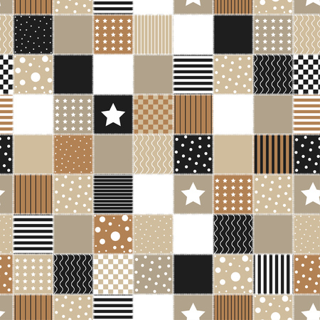 Geometric patchwork background with colored star, circle and line, vector illustration, decorative textures, seamless pattern, retro style.