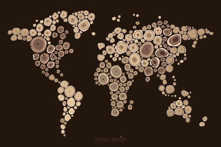 World map carving on a brown background. Vector illustration.