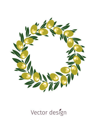 Olive wreath with green olive and leaves design.