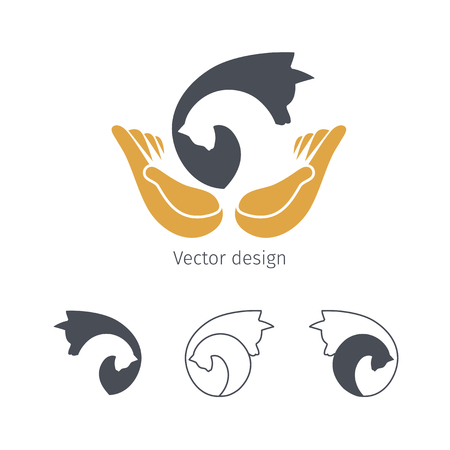 Dog and cat logo with open hands. Animal vector logotype, pet icon. Ilustracja