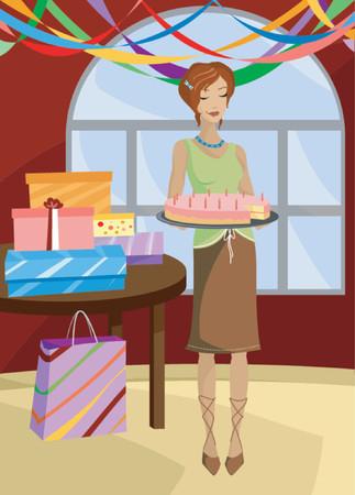 hanging woman: Pompini donna in possesso di una torta di compleanno, candele accese, presenta sul tavolo e bandierine appesi al soffitto ... con un pezzo di torta mancante e un subdolo sorriso sul viso Vettoriali