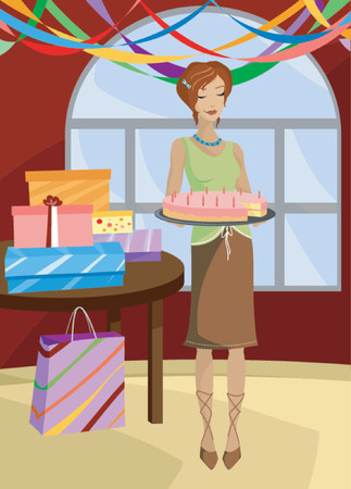 Redhead woman holds a birthday cake, candles lit, presents on the table and streamers hanging from the ceiling... with a piece of the cake missing and a sly smile on her face