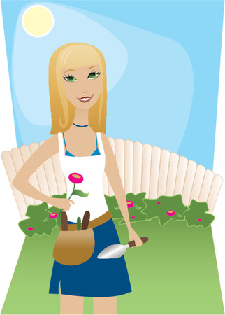 garden maintenance: Sunny day, blue sky, perfect for tending to the yard Illustration