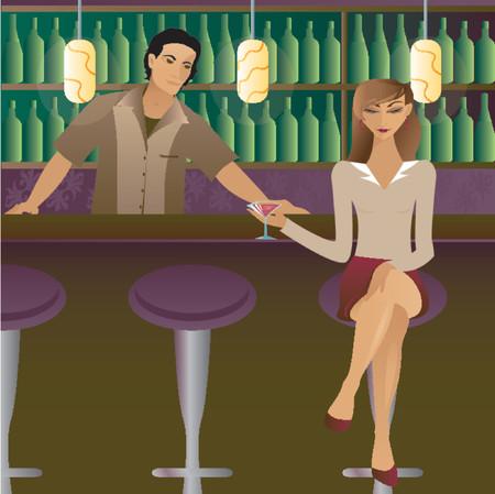 bartender: femme assise au bar avec son Martini, flirtant avec la foule ... et peut-�tre le barman