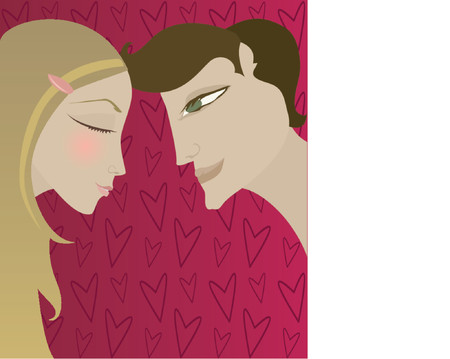 Vector of couple in love and possibly about to - boy looks at girl as girl blushes - a background of red hearts Illusztráció