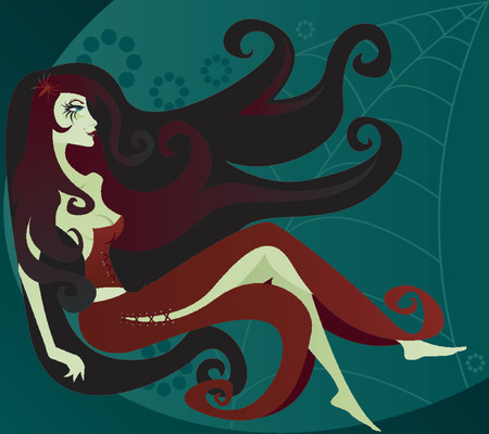 Sultry dark vixen lies in wait for her next victim - on a webbed background - with long black curls, y red corset and flowing red skirt
