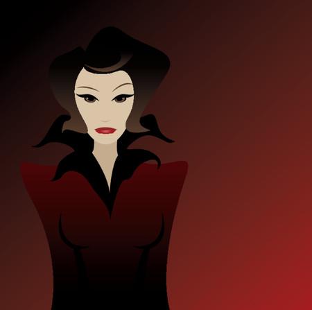 dangerous love: Vamped donna in nero, con uno sguardo minaccioso per il suo volto