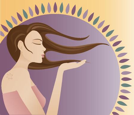 yellow hair: Ragazza pensoso soffia un bacio da lei palma - che ha una luce stella sulla sua spalla e capelli lunghi windblown