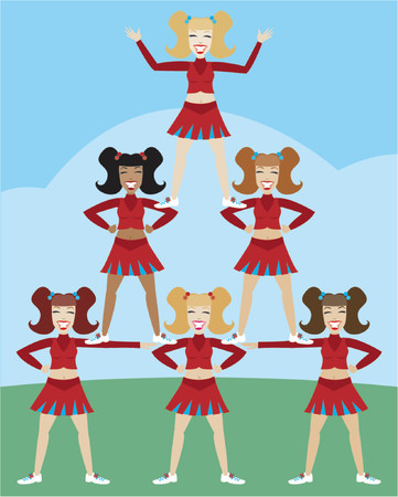 cheer: Cheerleaders in pyramid formation